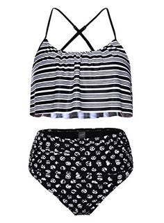 c4920333ef Actloe Women's Ruffle Top Bikini High Waist Bottom Two-Piece Swimsuit,#Top,