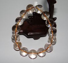 """0.6"""" China Certified Nature Crystal Transparent Round Pearls Bangle Bracelets"""