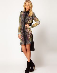 ASOS | ASOS Shirt Dress In Woodland Print at ASOS