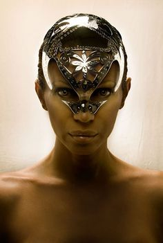 Metal couture by Manuel Albarran #waelcyrge - could use this idea for a female demon, too, framing the eyes differently...