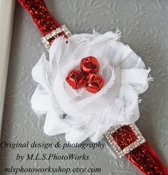 The Santa Baby Christmas Headband - Sparkly Jingle Bell & Santa Buckle Flower Headband - Baby Girl Glitter Christmas Headband on Etsy, $7.00