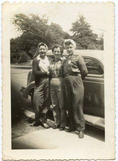 True Rosie the Riveter photo: WWII homefront, 1940s, 3 girls ready to work