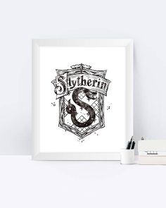 Slytherin Crest Black And White Watercolor Harry Potter