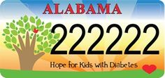 Hope For Kids With Diabetes Car Tag Coming Soon! 50.00 ( 41.25 from every purchase will directly benefit Pediatric Endocrinology at Children's of Alabama