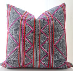 Hmong Pillow Cover, Textile, Ethnic, Handmade, Indigo, Batik, Red, Pink, Various Sizes