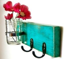 turquoise key hook wall key hanger mason jar vase by OldNewAgain. I thought I could make my own and add all mason jars. Craft Projects, Projects To Try, Diy Vintage, Vintage Hooks, Mason Jar Vases, Glass Jars, Little Presents, Creation Deco, Style Deco