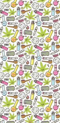 'Kawaii marijuana / Cute weed' Chiffon Top by dmitriylo Cannabis Wallpaper, Weed Wallpaper, Tumblr Wallpaper, Aesthetic Iphone Wallpaper, Drugs Art, Stoner Art, Weed Art, Dope Wallpapers, Lip Art