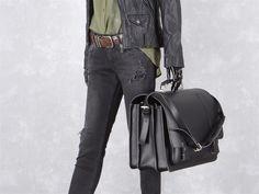 Aktentasche mit 3 Fächern Leder Herren Damen Schultasche Lehrertasche Businesstasche Tasche Umhängetasche schwarz