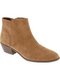 Women's Perforated Faux-Suede Ankle Boots