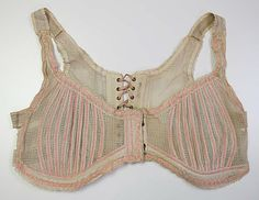 "early 1900s Brassiere. Laces in the back and has eyelet holes in the front as well. There appears to be some type of ""elasticized"" bands on the sides and mid portions of the straps. Marked: Pookine. See detailed photos at http://www.metmuseum.org/collections/search-the-collections/80101048?rpp=60=15=on=*=Underwear=2"