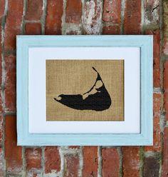Nantucket Wall Decor, Cape Cod Wall Decor, Nautical Burlap Decor.  Love the frame!