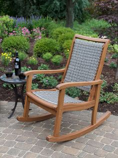 The look of this Vineyard Eucalyptus and Wicker Outdoor Rocker Chair is classic, but its materials are innovative. This outdoor rocking features.
