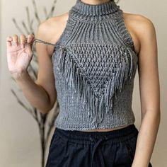 Crochet Fringe, Crotchet, Crochet Box, Hoodie Pattern, Top Pattern, Sleeveless Turtleneck, Yarn Sizes, Crochet Tank, Crochet Designs