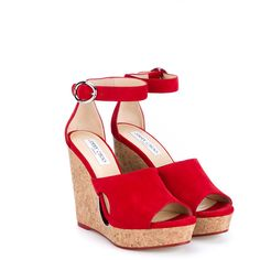 Jimmy Choo Neyo 120 Suede Cork Cutout Wedges (875 BAM) ❤ liked on Polyvore featuring shoes, sandals, wedges, heels, red, heeled sandals, wedge sandals, wedge heel shoes, ankle strap heel sandals and open toe wedge sandals