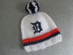 DETROIT TIGERS Hand Knit Baby Hat - Detroit Tigers Baby Hat - Michigan Hand Knitted Baby Hat by UpNorthKnitsAndGifts on Etsy https://www.etsy.com/listing/184424082/detroit-tigers-hand-knit-baby-hat