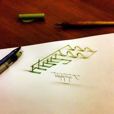 3D Calligraphy Anamorphic Letters - flag