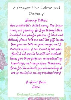 A prayer for Labor and delivery because it's a beautiful and painful process ordained by the one who created you and your baby. Pregnancy Prayer, Pregnancy Labor, Pregnancy Quotes, Pregnancy Announcements, Prayer For Safe Delivery, Baby Delivery, Pregnancy Affirmations, Birth Affirmations, Getting Ready For Baby