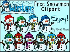 This package consists of 11 colour images and 6 Black and white high resolution SNOWMEN CLIP ART you can use on your winter resources. Snowman Clipart, Cute Clipart, Winter Fun, Winter Theme, Free Clipart For Teachers, Free Watercolor Flowers, Winter Clipart, Free Graphics, Crafts For Teens
