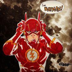"""""""I'm BATMAN."""" Nice cosplay Flash XD"""