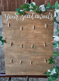 Your seat awaits - Find your seat - Be our guest - Wedding Seating chart - Rustic Wood Sign