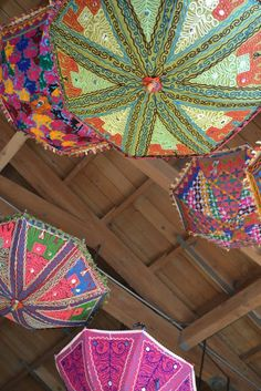 Parasols!! hand embroidered with vibrant colors.