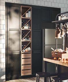ikea kitchen with wine rack