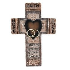 Faith, Hope and Love Marriage Cross. One of our most popular wedding wall crosses. Makes a great wedding gift.$26.95 #Wedding gifts