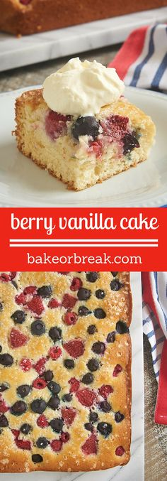 Celebrate berry season with this simple Berry Vanilla Cake. Use your favorite mix of berries or just one kind. A perfect go-to dessert for the season! - Bake or Break ~ http://www.bakeorbreak.com