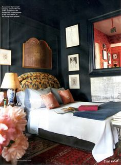 A gorgeous black bedroom.