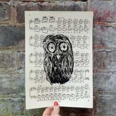 """A screen print of OWL on an original vintage page of music. The music is taken from """"Etudes"""" CHOPIN. Music for piano, published in Size x cm). Vintage Music, Screen Printing, Owl, The Originals, Piano, Prints, Screen Printing Press, Owls, Screenprinting"""