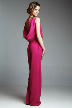 8ee2e8c7d257d Mono con escote en la espalda drapeado rosa frambuesa para invitadas boda  fiesta coctel comunion de
