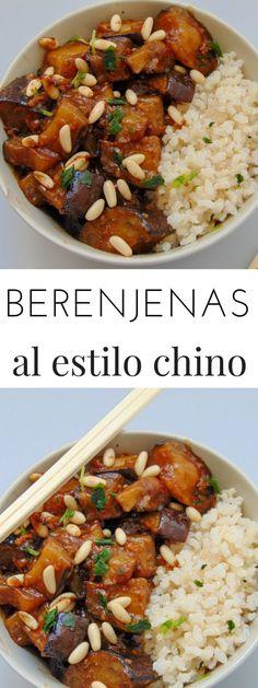 Berenjenas al estilo chino - Food and drink - Veggie Recipes, Asian Recipes, Real Food Recipes, Vegetarian Recipes, Cooking Recipes, Healthy Recipes, I Love Food, Good Food, Healthy Snacks