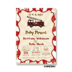 Fire Truck Baby Shower Invitation. Rustic Vintage Baby Boy Shower. Firefighter Themed Invite. Fireman Invitation, Firefighter Shower   Hello! All invitations in shop are customizable to any events.  ♥ In a RUSH? Please purchase this listing along with the digital invite. It will place your order first in line, from 1st proof to final files sent to your email: http://etsy.me/1OwblTt  ♥ Invitation Back Side, for double sided invitation: http://etsy.me/1Ptm5kT  * 9-PIECE-SUITE…