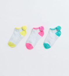ZARA - KIDS - 3-pack of short pompom socks