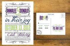 Modern, printable Wedding invitation and RSVP Postcard- Yellow and Gray, Chic and Sleek Design- The Kristol. $50.00, via Etsy.