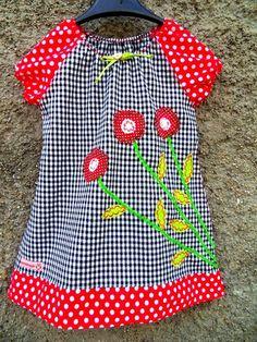 Blumen Kleid Tunika Bluse Karo punkte Dots von Zellmann Fashion auf DaWanda.com