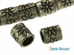 Karen Hill Tribe silver Flower Printed Tube Bead 5 by BeadsBazaar