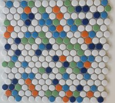 ModDotz Penny Rounds Confetti - Blue White Porcelain Tile - ModDotz high fired hand made and glazed porcelain penny round tiles are fresh and modern with a nod to retro style. ModDotz Confetti blend is a mix of our white and brights for a fun look ideal for commercial and residential spaces. .