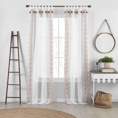 The Shilo Tab-Top Sheer features a global boho side border print and coordinating side tassels. White ground offers versatility with a pop of color. Perfect for creating a light and airy aesthetic, while adding a touch of fashion in any room of the home. Teen Curtains, Sheer Curtains Bedroom, Living Room Drapes, White Sheer Curtains, Boho Curtains, Panel Curtains, Living Room Window Treatments, Living Rooms
