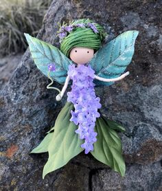 Excited to share the latest addition to my #etsy shop: Green Purple Flower Fairy Doll, Standing Wire Bendy Fairy Doll, Nature Lover Gift, Enchanted Forest, Green Goddess Doll, Fairy Gift Ideas