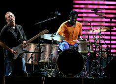 Eric Clapton Steve Jordan Photos - Musician Eric Clapton (L) and drummer Steve Jordan perform during the Crossroads Guitar Festival 2007 held at Toyota Park on July 2007 in Bridgeview, Illinois. Steve Jordan, Jordan Photos, July 28, Drummers, Eric Clapton, Over The Years, Illinois, Toyota, Legends