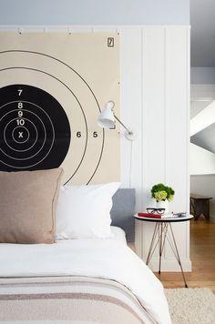 Gun Range Headboard - a little nerdy but totally awesome!