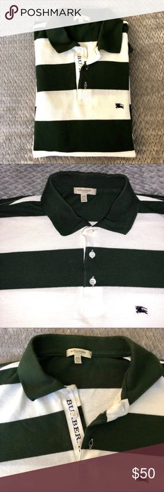 Authentic XXL Burberry  Men's Polo This polo is white and dark green stripes in color. Still in good condition.   ✅Bundle discounts. ✅ Reasonable offers will be considered. 🚫No trades.  🛍🛍Happy Poshing!!🛍🛍 Burberry Shirts Polos