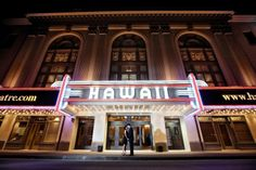 A nice change for a Hawaii shot, instead of the beach scenes.   Iconic Hawaii Theater. Photo by Dulce