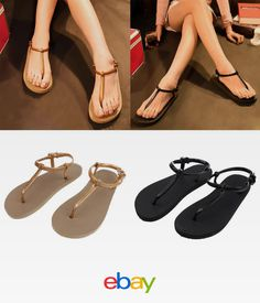 3f4c078343a7 Women s Girls Summer Slippers Flip Flops Beach Sandals Ladies Flat Thong  Shoes
