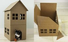 How to Make a Cardboard Cat Playhouse__ a tower is also needed for meow'ing..