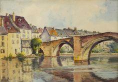 """Henri d'HAUTERIVE """"Vue de pont du Bearn"""" aquarelle 31 x 44 cm SBD"""