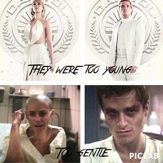 Mockingjay Part 1 So sad Peeta is hurting and changed but still recovers Johanna Mason is bald but is still a fighter❤️ Divergent Hunger Games, Hunger Games Memes, Hunger Games Cast, Hunger Games Fandom, Hunger Games Catching Fire, Hunger Games Trilogy, Divergent Quotes, Katniss Everdeen, Katniss And Peeta