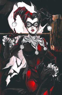 Harley Quinn painting by Yuriko Shirou! Harley Quinn Tattoo, Joker And Harley Quinn, Comic Book Characters, Comic Character, Dc Comics, Hq Marvel, Gotham Girls, The Villain, Gotham City