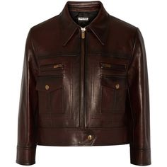 Miu Miu Cropped leather jacket (41.264.085 IDR) ❤ liked on Polyvore featuring outerwear, jackets, dark brown, brown leather jacket, pocket jacket, real leather jacket, brown jacket and zipper jacket